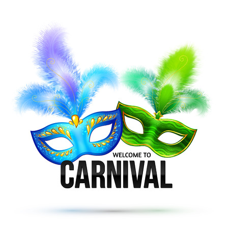 Illustration pour Bright carnival masks with feathers and black sign Welcome to Carnival - image libre de droit