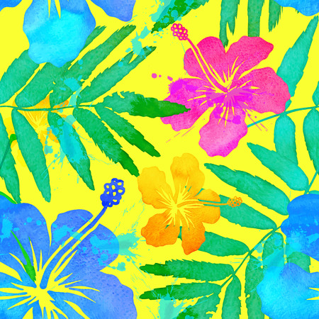 Illustration pour Vivid colors tropical flowers vector seamless pattern - image libre de droit