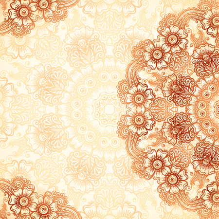 Illustration for Hand-drawn vintage background in mehndi style - Royalty Free Image