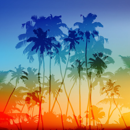 Illustration for Vector palms silhouettes tropical sunset background - Royalty Free Image