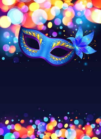 Illustration pour Blue carnival mask vector poster background - image libre de droit