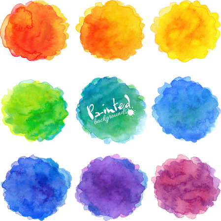 Illustration pour Watercolor rainbow colors round stains vector set - image libre de droit