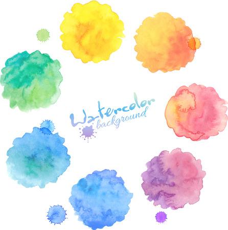 Illustration pour Rainbow pastel colors vector watercolor stains set - image libre de droit
