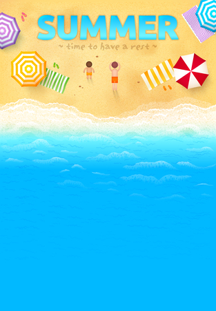 Illustration pour Beach with colorful umbrellas, towels, people and SUMMER sign, vector leaflet template - image libre de droit