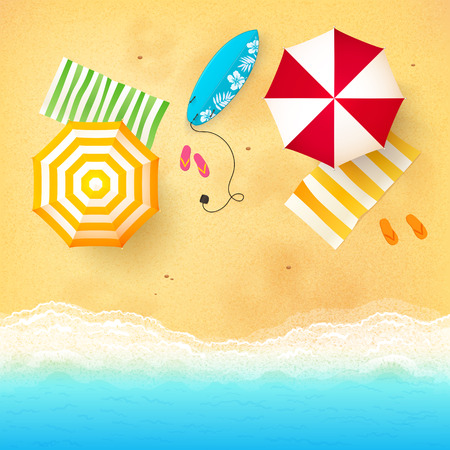 Illustration pour Vector beach with waves, umbrellas, bright towels and blue surfing board - image libre de droit