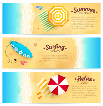Illustration pour Set of vector summer travel banners with beach umbrellas, waves and surfing board - image libre de droit