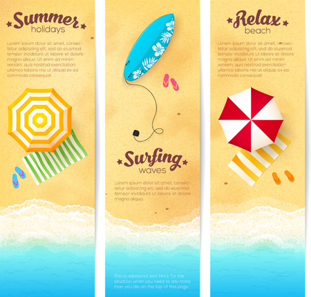 Ilustración de Set of vector summer travel banners with beach umbrellas, waves and surfing board - Imagen libre de derechos