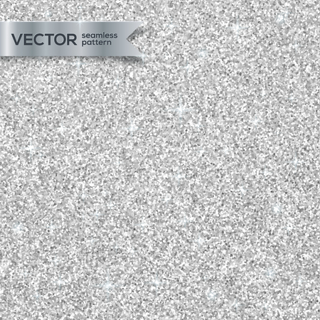 Illustration for Shining silver glitter texture vector seamless pattern - Royalty Free Image
