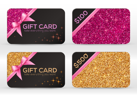 Ilustración de Set of golden and pink glitter vector black gift cards templates - Imagen libre de derechos