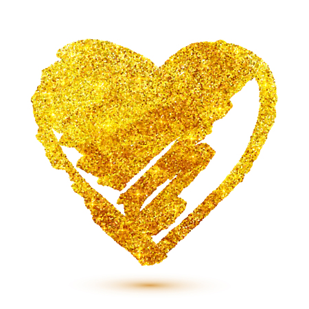 Ilustración de Vector golden glitter grunge heart isolated on white background - Imagen libre de derechos