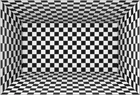 Illustration pour Black and white chessboard walls vector room background - image libre de droit