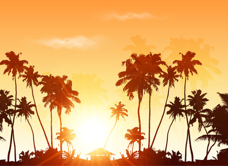 Illustration for Palms silhouettes at orange sunset sky, vector background - Royalty Free Image