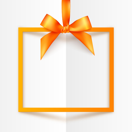 Illustration pour Orange vector gift box frame with silky bow and ribbon on white folded paper background - image libre de droit