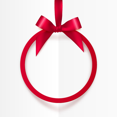 Illustration for Bright vector holiday red round frame with bow and silky ribbon - Royalty Free Image