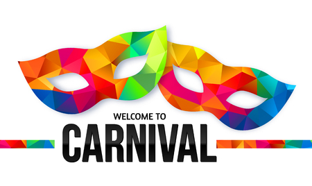 Illustration pour Bright rainbow colors vector carnival masks with black sign Welcome to Carnival - image libre de droit