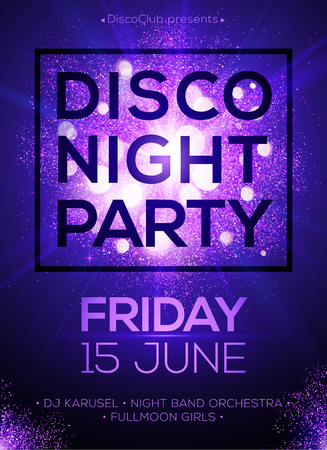 Illustration for Disco night party vector poster template with shining violet spotlights background - Royalty Free Image