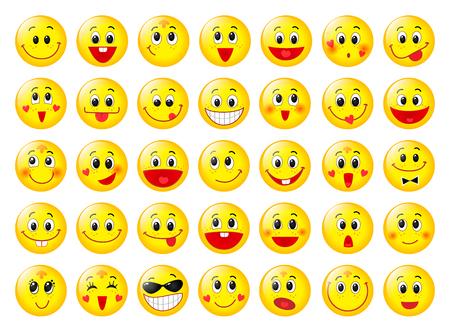 Illustrazione per Yellow happy round emoticon faces set isolated on white - Immagini Royalty Free