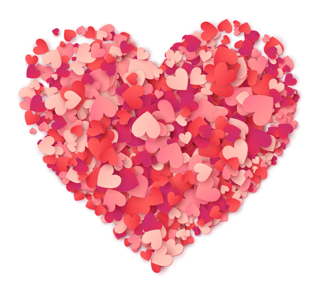 Illustrazione per Vector big heart made from hearts shapes pink and red confetti on white - Immagini Royalty Free