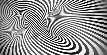 Illustration for Vector optical illusion black and white twisted stripes abstract background - Royalty Free Image