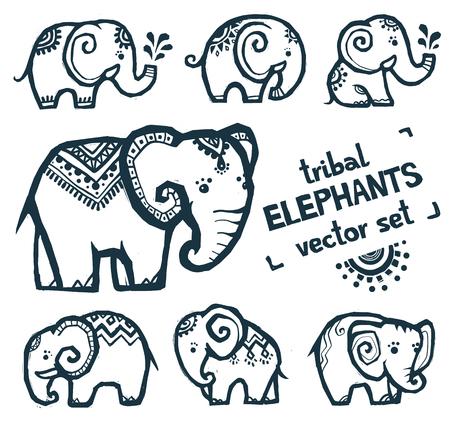 Tribal style tiny elephants vector set isolated on white