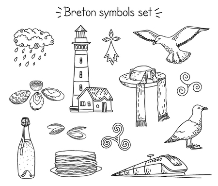 Illustration pour Vector breton elements: lighthouse, seagulls, traditional hut, train, cidre and crepes, seafood and rainy cloud, triskele and hermine. - image libre de droit