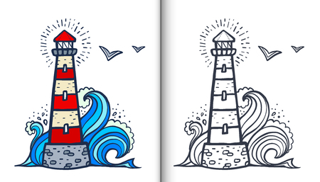 Ilustración de Doodle style white and red lighthouse vector coloring book illustration with colored sample and clear version isolated on white background - Imagen libre de derechos
