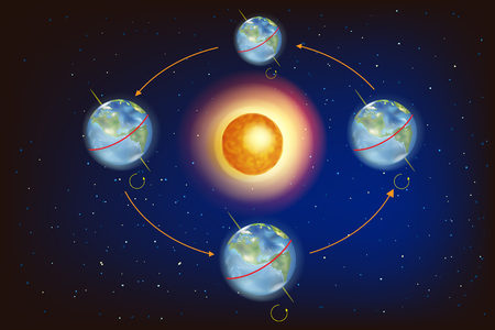 Illustration pour The Seasons on Earth. Illustration showing Earth's position in relation to the Sun at the equinoxes and solstices. - image libre de droit