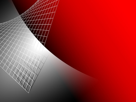 Red abstract background with silver grey metal