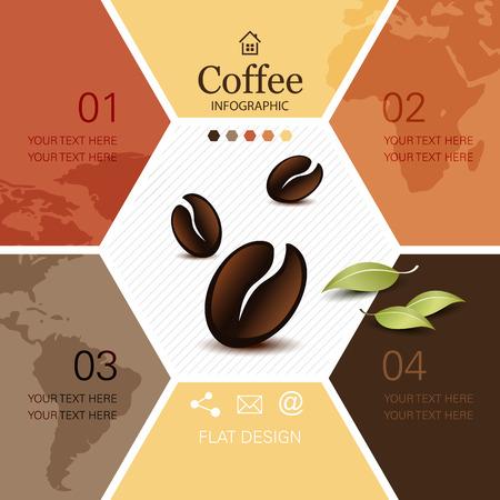 Illustration pour Coffee infographic with soft global world map - image libre de droit