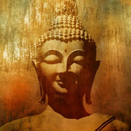Foto de Buddha head in grunge style - Imagen libre de derechos