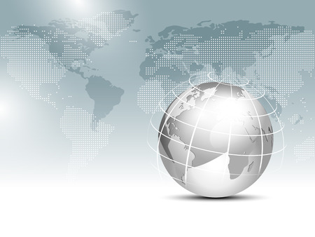 Ilustración de World map background with globe - global finance business template - Imagen libre de derechos