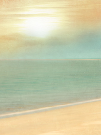 Photo pour Vintage beach background with sand and sun and soft horizon line - blurred tourism and travel concept in retro style - image libre de droit