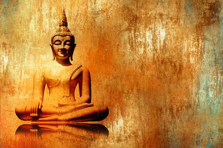 Foto de Buddha image in lotus position in grunge orange gold painting style - meditation background - Imagen libre de derechos