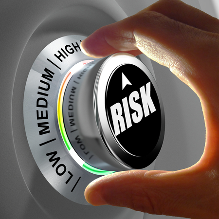Foto de The button shows three levels of risk management. Concept illustration. - Imagen libre de derechos
