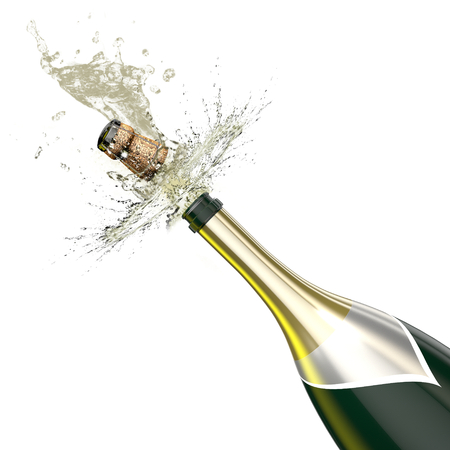 Photo for Opened bottle of champagne foaming with flying cork closeup. This illustration Represents the celebration. - Royalty Free Image