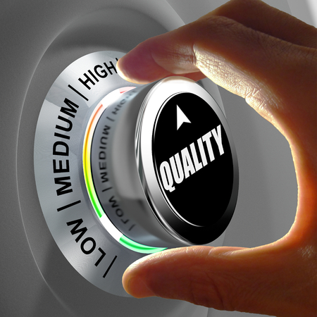 Photo pour Hand rotating a button and selecting the level of quality. This concept illustration is a metaphor for choosing the level of quality. Three levels are available: low, medium and high. - image libre de droit
