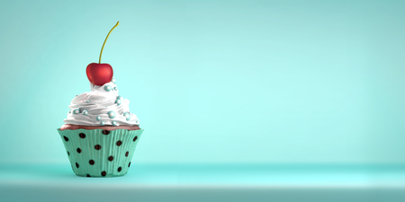 Photo for Delicious cupcake topped with a cherry with whipped cream and sweeties. The cherry on the cake metaphor. Copy space. - Royalty Free Image