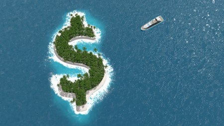 Photo pour Tax haven, financial or wealth evasion on a dollar shaped island. A luxury boat is sailing to the island. - image libre de droit