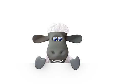 funny sheep showing a bottom blank space. 3d render