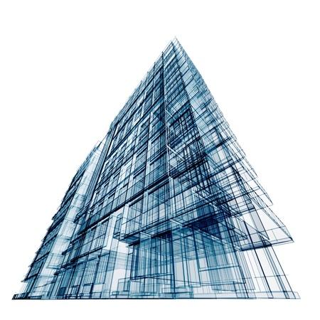 Foto de Modern office building. Isolated on white - Imagen libre de derechos