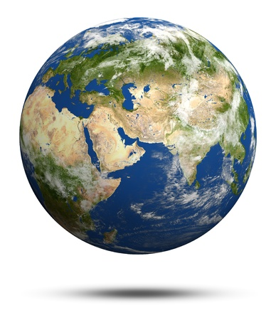 Planet Earth 3d render. Earth globe model, maps courtesy of NASA