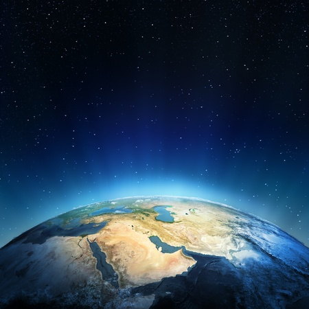 Middle East  Elements of this image furnished by NASA