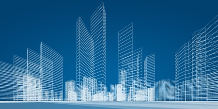 Foto de City project. 3d render image - Imagen libre de derechos