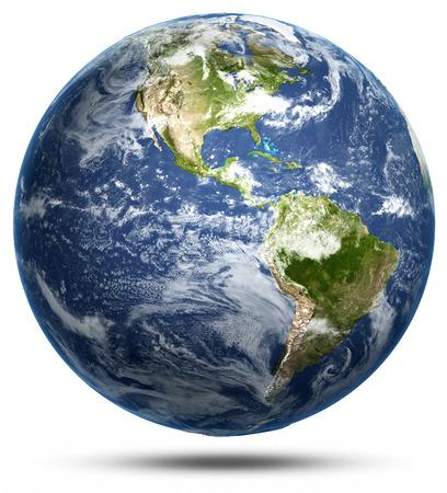 Photo pour Earth - America white isolated. - image libre de droit
