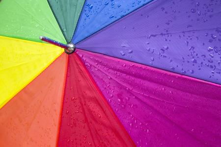 Close up of a colorful umbrella with rain drops