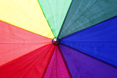 Closeup of a colorful umbrella with rain drops