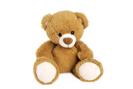 Photo pour Brown teddy bear isolated in front of a white background - image libre de droit