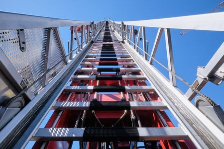 Photo pour Image of a aerial ladder in South Tirol, Brixen, Italy with blue sky - image libre de droit