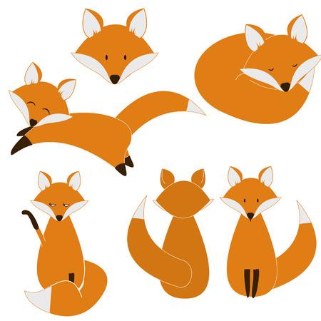 Cute fox set. vector eps8