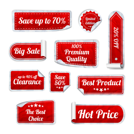 Illustration pour Set Of red crumpled paper SALE stickers on white background. Round, square and rectangular stickers. Vector illustration - image libre de droit